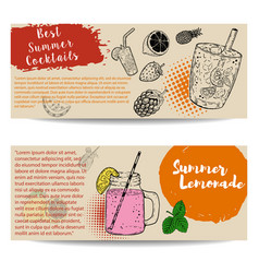 Cocktails flyers templates on white background vector