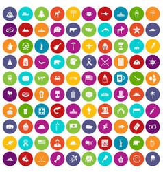 100 north america icons set color vector