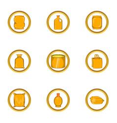 supermarket pack icon set cartoon style vector image