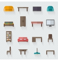 Furniture icon set for rooms of house vector