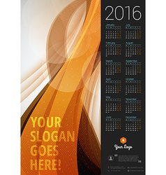 Calendar 2016 design template week starts monday vector
