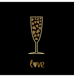 Champagne glass with hearts inside gold sparkles vector