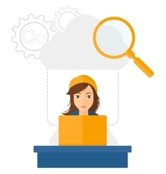 Woman working in office vector
