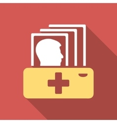 Patient catalog flat square icon with long shadow vector