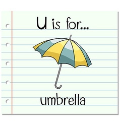 Flashcard letter u is for umbrella vector