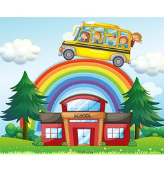 Children on school bus riding over the rainbow vector image