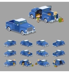 Low poly blue retro pickup vector