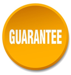 Guarantee orange round flat isolated push button vector