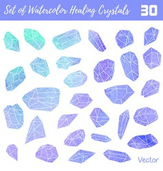Watercolor gemstones healing crystals vector