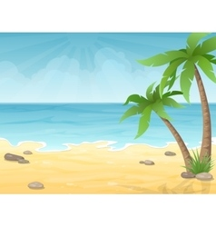 Tropical beach with palms tree vector