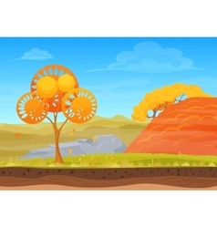 Cartoon nature autumn landscape in sun day with vector