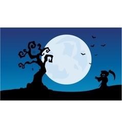 At night warlock scenery halloween backgrounds vector