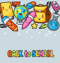 back to school kawaii background with cute vector image vector image