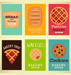 bakery shop posters set vector image vector image
