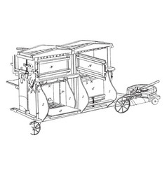 Baling press machine vintage vector