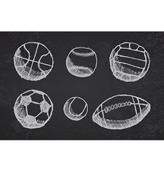 Ball sketch set with shadow on blackboard vector image