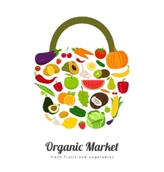 Basket with fruits and vegetables icons vector