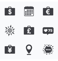 Businessman case signs Cash money icons vector image vector image