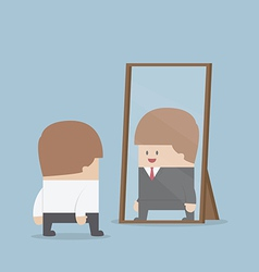Businessman see his successful future in the mirro vector image