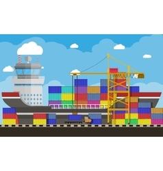 cargo ship container crane truck port logistics vector image vector image