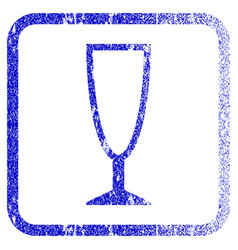 Empty wine glass framed textured icon vector