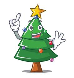Finger christmas tree character cartoon vector