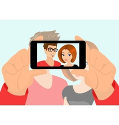 Happy couple taking a snapshot of themselves vector