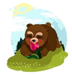 Happy teddy bear smelling a flower vector