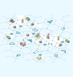 isometric map with logistics icons vector image