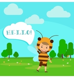 Kid in fancy bee dress vector