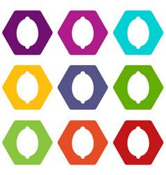 lemon icon set color hexahedron vector image