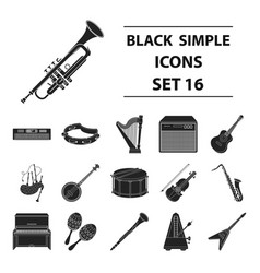 musical instruments set icons in black style big vector image