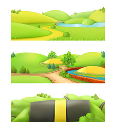 nature landscape park and outdoor cartoon game vector image vector image