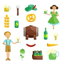 Oktoberfest icons set cartoon style vector image