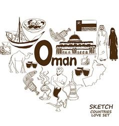 Oman symbols in heart shape concept vector