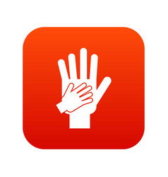 parent and child hands together icon digital red vector image