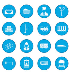 Railroad icon blue vector