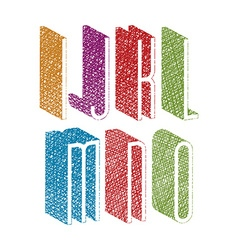 Retro style 3d thin tall condensed font with hand vector