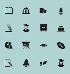 set of 16 editable education icons includes vector image