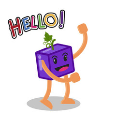Smiling grape fruit cartoon mascot character vector