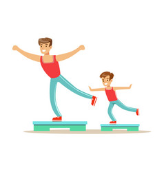 Smiling man and boy happily exercising aerobic vector