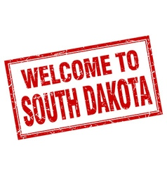 South Dakota red square grunge welcome isolated vector image