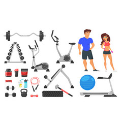 Sport nutrition equipment and characters vector