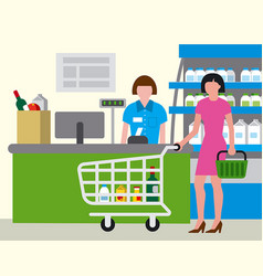 supermarket shopping food vector image