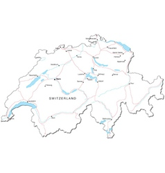 Switzerland black white map vector