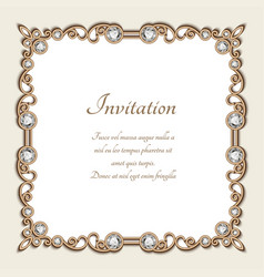 Vintage gold background square jewelry frame vector