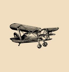 Vintage retro airplane logo hand sketched vector