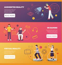 Virtual reality gaming banners vector