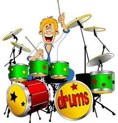 Young drummer vector