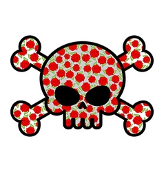 Skull with roses flower head skeleton crossbones vector